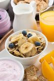 Healthy breakfast with cereal, top view Stock Image