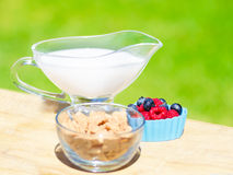 Healthy breakfast with cereals and berries. Healthy breakfast with cereals, blueberry, raspberry and milk. Selective focus Royalty Free Stock Photography