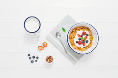Healthy breakfast with cereals and berries in an enamel bowl Royalty Free Stock Photography