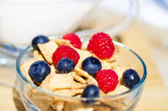 Healthy breakfast with cereals and berrys. Healthy breakfast with cereals, blueberry, raspberry and milk. Selective focus Stock Photos