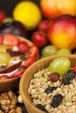 Healthy breakfast with cereals and colorful fruits. Yogurt with fruit and oatmeal. Meals for successful athletes. Food for kids Royalty Free Stock Images