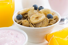 Healthy breakfast - cereals, dairy products, fruit and juice Royalty Free Stock Photography