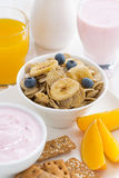Healthy breakfast - cereals, dairy products, fruit and juice Royalty Free Stock Image