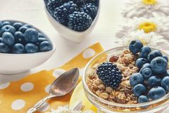 Healthy Breakfast cereals: muesli with fruit, nuts and berries blueberries, blackberries. Selective focus. The horizontal frame Stock Photography