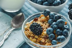Healthy Breakfast cereals: muesli with fruits and berries blueberries, blackberries and dairy products. Selective focus. Close up. The horizontal frame Royalty Free Stock Photos