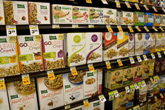 Healthy breakfast cereals. A store selling healthier brands of cereals and snack bars. US people consume lots of cereals a day Royalty Free Stock Photography