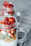 Healthy breakfast with  chia pudding, Strawberry, kiwi, orange s Stock Images