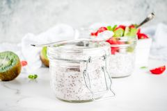 Healthy breakfast with chia seeds stock photos