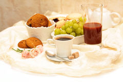 Healthy breakfast: coffee, cane sugar, grapes Stock Photos