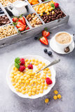 Healthy breakfast with coffee and cereals Stock Image