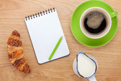 Healthy breakfast with coffee, milk and croissant Stock Image