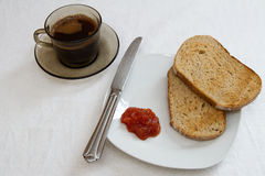 Breakfast. Healthy breakfast of coffee, toast and jam stock image