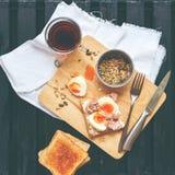 Healthy Breakfast Coffee Toast Tuna Eggs Sunflower Seeds Stock Photos