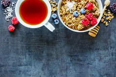 Healthy breakfast composition Royalty Free Stock Photography