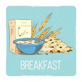 Healthy breakfast concept - hand drawn porrige cereals wheat muesli Royalty Free Stock Images
