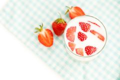 Healthy breakfast consist of strawberries and milk Stock Photography