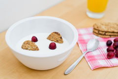 Healthy breakfast containing natural yogurt, wholemeal cereal biscuits and fresh cranberries Royalty Free Stock Image