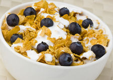 Healthy Breakfast of corflakes and blueberries Stock Photos