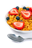 Healthy breakfast with corn flakes. Blueberries and strawberries Stock Photo