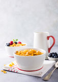 Healthy breakfast with corn flakes and berries Stock Photos