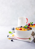 Healthy breakfast with corn flakes and berries Stock Images