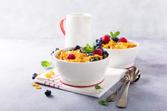 Healthy breakfast with corn flakes and berries Stock Photo