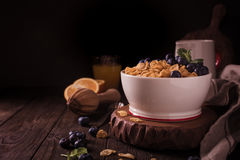 Healthy breakfast with corn flakes and berries. Healthy breakfast with corn flakes, berries and milk on old dark wooden background. Copy space. Retro style toned Stock Images