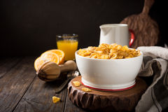 Healthy breakfast with corn flakes Royalty Free Stock Photo