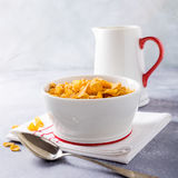 Healthy breakfast with corn flakes Stock Images