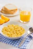 Healthy breakfast. Corn flakes and milk. Healthy breakfast. Corn flakes and milk, selective focus Stock Image