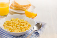 Healthy breakfast. Corn flakes and milk. Royalty Free Stock Photos