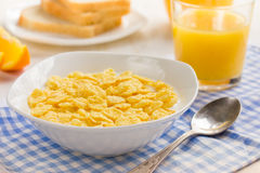Healthy breakfast. Corn flakes and milk. Healthy breakfast. Corn flakes and milk, selective focus Royalty Free Stock Image