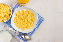 Healthy breakfast. Corn flakes and milk. Healthy breakfast. Corn flakes and milk, top view Stock Photo