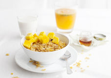 Healthy breakfast. Corn flakes, muesli, granola, with fresh orange juice Royalty Free Stock Image