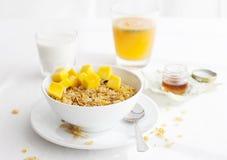 Healthy breakfast. Corn flakes, muesli, granola, with fresh orange juice Royalty Free Stock Image