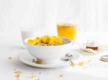 Healthy breakfast. Corn flakes, muesli, granola, with fresh orange juice Stock Image