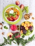 Muesli with yoghurt and fresh fruit Royalty Free Stock Photos