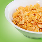 Healthy Breakfast-Cornflake on a green background Royalty Free Stock Image