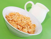 Healthy Breakfast-Cornflake on a green Stock Image