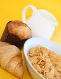 Healthy Breakfast-Cornflake on a yellow background Stock Photo