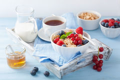 Healthy breakfast with cornflakes and berry Royalty Free Stock Photography