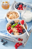Healthy breakfast with cornflakes and berry Royalty Free Stock Photo