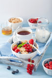 Healthy breakfast with cornflakes and berry Stock Photo