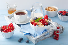 Healthy breakfast with cornflakes and berry Stock Image