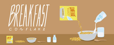 Healthy Breakfast-Cornflakes and Milk Splash Vector Stock Images