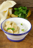 Healthy breakfast cottage cheese with banana Royalty Free Stock Photos
