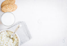 Healthy breakfast with cottage cheese, grain cookies, milk Stock Photos