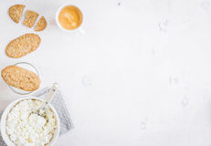 Healthy breakfast with cottage cheese, grain cookies, milk Royalty Free Stock Image