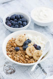 healthy breakfast with cottage cheese, granola and berries Royalty Free Stock Photo