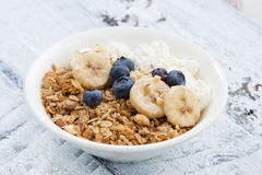 Healthy breakfast with cottage cheese, granola and fresh berries Royalty Free Stock Photo